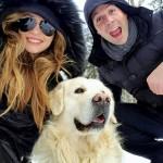 Tudi Irina Osypenko je z možem in kužkom pobegnila na sneg (Foto: facebook)